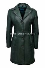 TRENCH Ladies Coat Green Classic Knee-Length Designer Real Napa Leather 3457