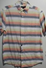 Cool CREMIEUX 38 Orange Yellow Multi Striped Short Sleeve Shirt L NEW! $59.50