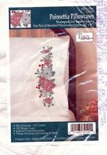 NEW TOBIN STAMPED FOR EMBROIDERY POINSETTIA PILLOWCASES 20 X 30