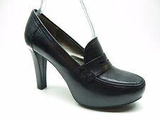Me Too London Black Leather Penny Loafer Platform Pumps 9M 9 MSRP $99.
