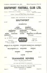 1945/6 SOUTHPORT V TRANMERE ROVERS S/S