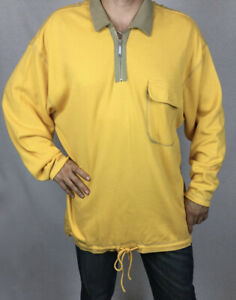 Practical, warm,comfy and realiy big Top Yellow Taupe quater zipper open neck