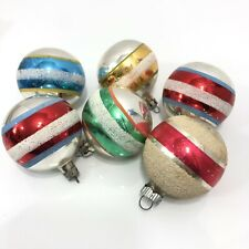 Mica Striped Vintage Christmas Ornament Lot of 6 Shiny Brite Red Green Blue