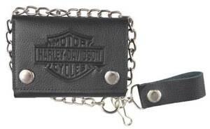Harley-Davidson® Men's Bar & Shield Black Leather Chain Tri-Fold Wallet XML3517