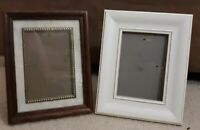 "Vintage Lot 2 Wood Like Picture Frame 4x6"" Photo Art 80's white / dark wood deco"