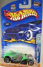 2003 Hot Wheels #137 Alt Terrain 1/10 FLAT RACER Green/Black w/Chrome 5 Spokes