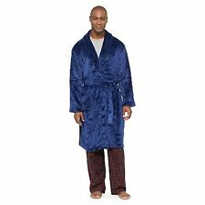 Hotel Spa Men's Soft Plush Navy Blue Velvet Robes with Belt - One Size