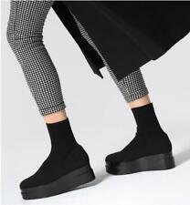 Clergerie Black Luise Knit Short Boots Platforms with Rubber Soles Sz 37 US sz 7