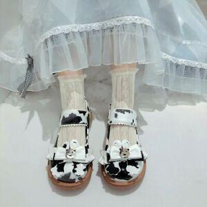Womens Platform Milk Cow Print Ankle Strap Shoes Bowknot Cute Lolita Low Heel