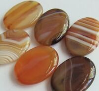 Red Banded Agate Puffed Oval Focal Pendant Beads - 30x20 mm - 6 PCS