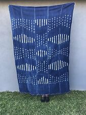 Gorgeous Boho Indigo African Mud Cloth Throw Blanket (No.91)