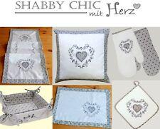 Vintage Kitchen Brotkorb Shabby Chic Pünktchen grau bestickt mit Herz Ranke #22