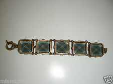 "J CREW SIGNED CHUNKY CHARCOAL 1"" x1"" x 8""  GLASS BRACELET"