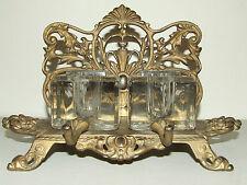 Antique 19th C. Bradley & Hubbard Victorian Cast Iron Inkwell Desk Pen Rest B&H