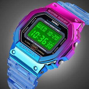 Colorful Digital Sport Watches LED Quartz 5ATM Waterproof Women Lady Boy's Watch
