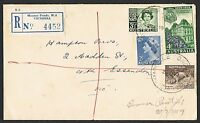 Group of three 1958/59 registered covers each with multiple frankings AN10