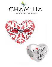 BNIB Genuine CHAMILIA sterling silver WARM HEART charm bead, Christmas snowflake