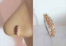18k Gold Plated Seamless Nose Jewelry Hoop Ring Clear Crystal Gem CZ 20 gauge