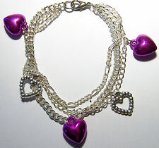 8 INCHES LONG STAINLESS STEEL TRIPLE CHAIN BRACELET WITH FIVE HEART PENDANTS