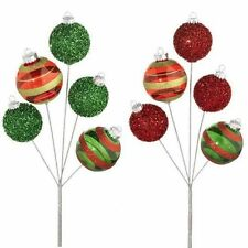 Christmas Ball Ornament Floral Spray Pick beaded & clear S/2 RAZ  pm f3316569