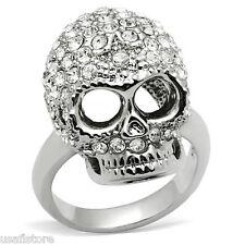 Clear Crystal Stones Skull Rhodium EP Mens Ring