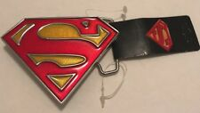 SUPERMAN METAL BELT BUCKLE RED/ YELLOW SPARKLY LICENSED NEW!