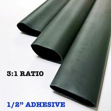 "50 6"" Pieces 1/2"" / 12.7mm Black Adhesive Lined Dual Wall 3:1 Heat Shrink Tubing"