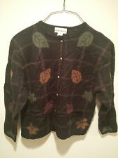 Vintage Thanksgiving Holiday Sweater - Large Black Croft & Barrow Fall Leaves !!