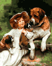 """New DIY Paint By Number 16*20"""" kit Oil Painting On Canvas Love My Dog 1166"""