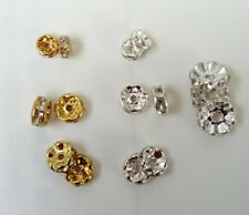 100 x  Brass Rondelle Rhinestone Clear Crystal spacer beads 6mm 8mm 10mm GP / SP