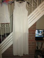 BNWT UK 10 £46 Topshop Maxi Dress White Thin Semi Sheer Mini High Low Summer