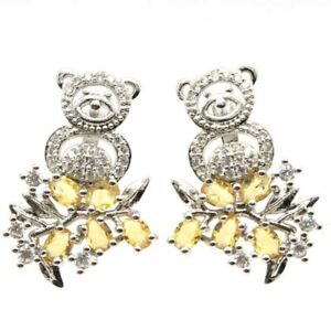 New Arrival Monkey On The Tree Shape Golden Citrine White CZ Woman's Silver Earr