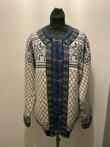 Dale Of Norway Nordic Pattern Pure New Wool Cardigan Size L 52