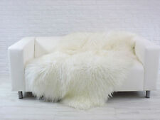 Beautiful real ICELANDIC QUAD sheepskin rug white curly hair  Q8
