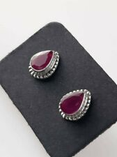 Ruby Teardrop Sterling Silver Stud Earrings, Minimalist Earrings, July Birthston
