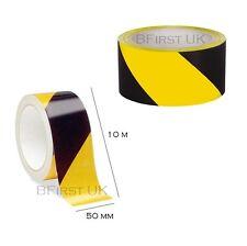 10M x 50MM Hazard Warning Barrier Safety Black & Yellow Self Adhensive Tape Roll