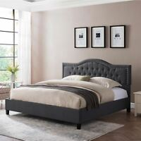 Margaret Fully-Upholstered Traditional King-Sized Bed Frame