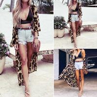 Women Long Maxi Chiffon Kimono Cardigan Casual Leopard Print Jacket Coat Plus