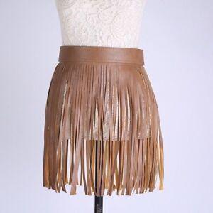 Western Faux Leather Fringe Tassels Skirt Belt Women Hippie Boho Samba Corset