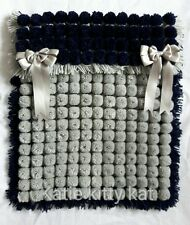 POM POM TURNOVER BABY BLANKET NAVY BLUE & GREY  WITH REMOVABLE BOWS