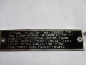 Nameplate Weslake Ford Austin Healey Triumph MG British Patents 1029