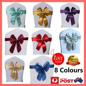 20-100x Elastic Satin Chair Sashes Cover Bow Band Wedding Banquet Party Event Ho