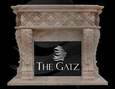 Heavy European Style Hand Carved Marble Fireplace Mantel, #4289