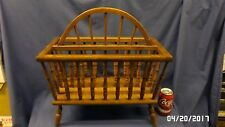 """2040M Vtg Early American Colonial Magazine Rack Large 19"""" 2 Sections Footed Exc"""
