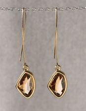 Designer Yellow Gold 24k Plated Golden Swarovski Crystal Long Dangle Earrings