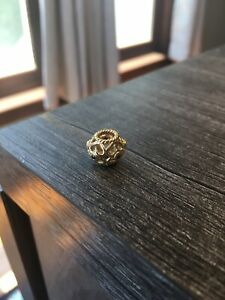 Authentic Pandora 14kt Gold Open Heart Black Diamond Charm Bead - ALE 585 Gold