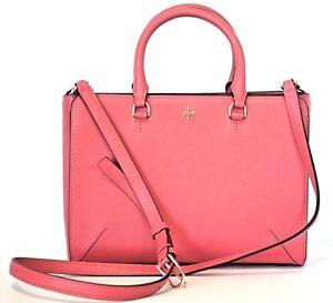 Tory Burch Purse Pink Leather Robinson Design Satchel Crossbody Shoulder Bag New