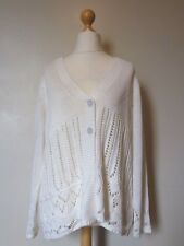 Anne Weyburn Chunky Knit Crochet Buttoned Cardigan Size 14/16 Uk NEW* White