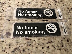 """Set Of 2 Vollrath Symbol Sign - """"NO SMOKING, NO FUMAR"""""""