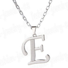 Silver Stainless Steel Alphabet Initial Letter Pendant Necklace Chain Gifts A-Z